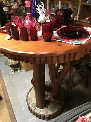 Beautiful Handmade High Top Table With River Rock great for cabin or log home