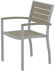 Contemporary Silver Patio Dining Arm Chair w Sand Slats Home Outdoor Furniture