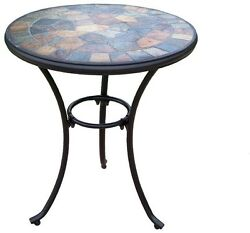 Patio Bistro Table 24 in. Round Indoor Outdoor Home Decor Iron Furniture Black