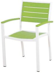 Modern Patio Dining Arm Chair Aluminum Decor Indoor Outdoor Furniture White Lime