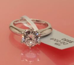 Solitaire Diamond Engagement Ring 1.5ct 14k White Gold Toned Round Brilliant Cut
