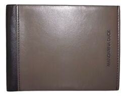 NEW MANDARINA DUCK MEN'S ITALIAN LEATHER BIFOLD WALLET WITH CHANGE POCKET GREY