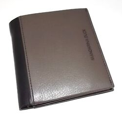 NEW MANDARINA DUCK MEN'S ITALIAN LEATHER BIFOLD CENTER FLIP ID WALLET GREY MULTI
