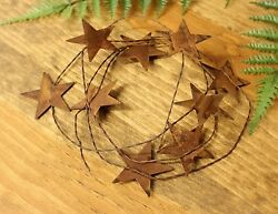 """72quot; rustic wire garland with 9 2.25"""" Rusty Tin Stars Primitive home decor $4.66"""