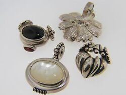 VINTAGE STERLING SILVER SERPENTINE CHAIN W BUTTON CLASP AND 4 SNAP ON PENDANTS