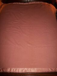 VTG KENWOOD 100% WOOL BLANKET PINK 86X75 SATIN ENDS-FELTED-PROJECT MATERIAL