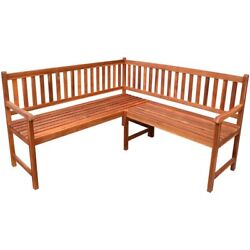 Garden Corner Bench Outdoor Park Bench Acacia Wood Oil Finished Deck Porch Yard