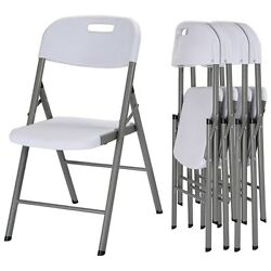 White Folding Chairs Set of 4 Wedding Garden Party Chairs Heavy Duty Home Seat