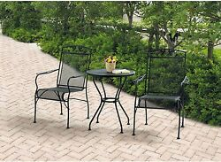 Set Bistro 3 Piece Patio Outdoor Table Chairs Wrought Iron Durable Steel Frame
