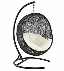 Cocoon Wicker Rattan Outdoor Patio Swing Chair Lounge Relax Cushion Spin 360