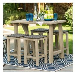 Patio Furniture Clearance Sets Sale Wood Table Bar Stools BONUS Outdoor Cover