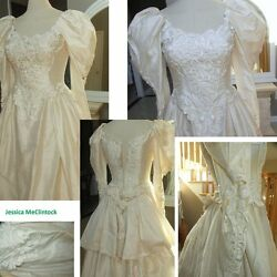 Vintage Jessica McClintock cream silk wedding dress with bustle