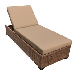 Outdoor Patio Wicker Chaise Lounge Chair Furniture Wheat