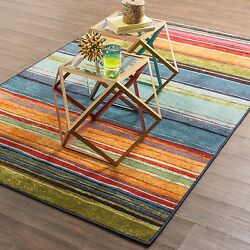 Outdoor Area Rugs For Patios 8 x 10 Striped Large Waterproof Accent Carpet NEW