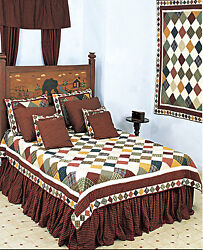 6pc Rustic Cabin - Patchwork Country Quilt Super Set - Shams Pillows Skirt