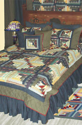 6pc WIld Goose Log Cabin - Country Quilt Super Set - Shams Pillows  Eed Skirt