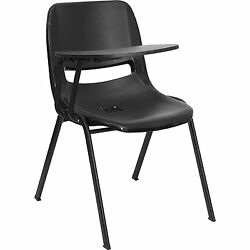 Black Ergonomic Shell Student Chair Right Handed Arm Tablet  W Pencil Holder