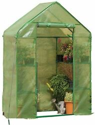 Compact Walk In Greenhouse 2 Tier Plant Roll Up Cover Backyard Home Plant Grow