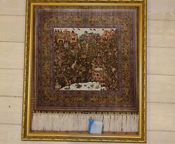 Vintage Hereke Silk Rug Collectors Piece Handmade Painting Carpet
