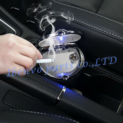 Stainless Steel Lid Black Car Interior LED Water Cup Slot Cigarette Ashtray Box