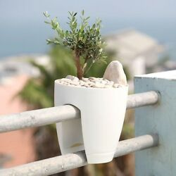 Greenbo White Plastic Railing Deck Planter Patio Flower Terrace Garden (2 pack)