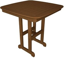 POLYWOOD Nautical 37 in. Teak Patio Counter Table