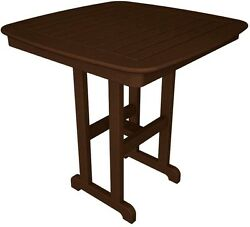POLYWOOD Nautical 37 in. Mahogany Patio Counter Table