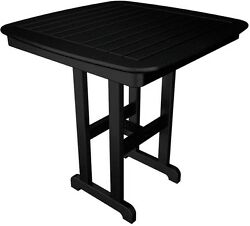 POLYWOOD Nautical 37 in. Black Patio Counter Table
