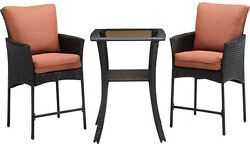3 Piece All-Weather Wicker Square Patio Bar Height Dining Set Outdoor Furniture