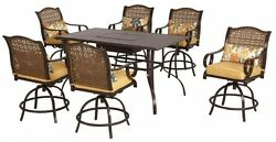 7 Piece Patio High Dining Set Steel Table Chair Swivel Home Outdoor Furniture