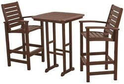 Mahogany 3 Piece Patio Bar Set Table Dining Chair Brown Resin Outdoor Furniture