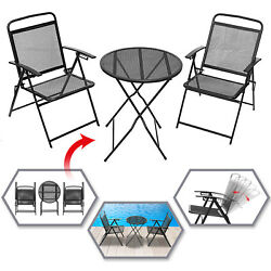 3PC Bistro Set Outdoor Patio Garden Chair Table Furniture Set Wrought Iron Coffe