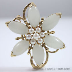 MING'S HAWAII JADE MUTTON FAT & PEARL FLORAL 14K YELLOW GOLD BROOCH