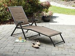 Padded Sling Chaise Outdoor Patio Lounge Porch Folding Brown Deck Pool Lounges