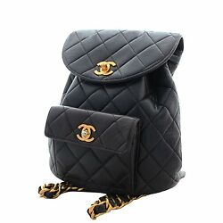 CHANEL CC Logos Chain Backpack Rucksack Back Day Bag Black Leather from Japan
