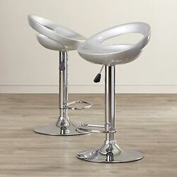 Swivel Bar Stool High Chair Adjustable Height Set Of 2 For Kitchen Patio