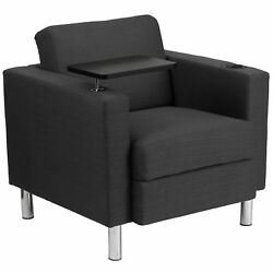 Charcoal Gray Guest Chair with Tablet ArmChrome Legs and Cup Holder