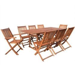 Patio Dining Set Outdoor Garden Folding Chairs Oval Yard Table Acacia Wood 9pcs