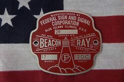 NEW Federal Sign and Signal Beacon Ray Replacement Badge with 2R serial number $25.50