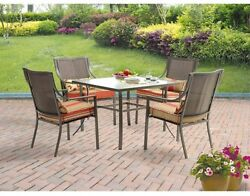 Square 5 Piece Patio Dining Set Seats 4 Glass Top Table Chairs Outdoor Cushions