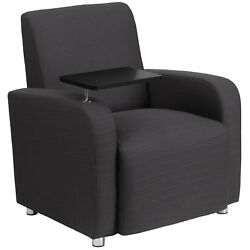 Flash Furniture Gray Fabric Guest Chair with Tablet Arm and Chrome Legs