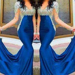 Crystal Mermaid Blue Long Formal Celebrity Evening Party Dress Prom Pageant Gown