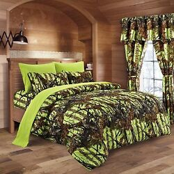 22 PC LIME CAMO KING! BEDDING SET COMFORTER SHEET CAMOUFLAGE CURTAINS NEON GREEN