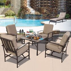5 PCS Patio Furniture Set Chair and BBQ Stove Fire Pit Fireplace Steel Frame