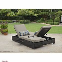 Balcony Furniture Lawn Chaise Lounge Cushions Double Home Outdoor Sofa Tan Brown