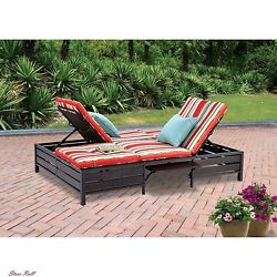 Chaise Lounge Cushions Lawn Furniture Balcony Double Home Outdoor Multicolor New
