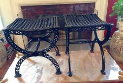 PAIR NeoclassicalRegency Style Cast Iron Curule Garden BENCHES  STOOLS  SEATS
