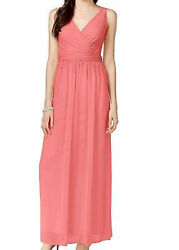 Adrianna Papell Women#x27;s Tiered Maxi Cocktail Chiffon Draped Gown Coral Size 4 $24.90