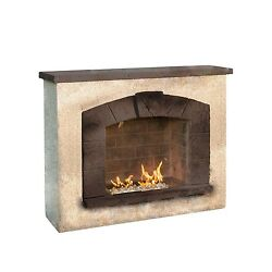 Outdoor Great Room Stone Arch Gas Fireplace with Stucco F... -New -Free Shipping