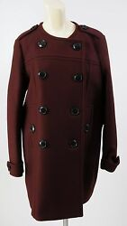 Women's BURBERRY Trench Pea Coat Jacket Wool Cashmere Size 8 L NEW Deep Burgundy